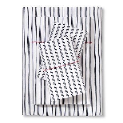 Brooklyn & Bond™ Fine Stripe Sheet Set Queen - Navy