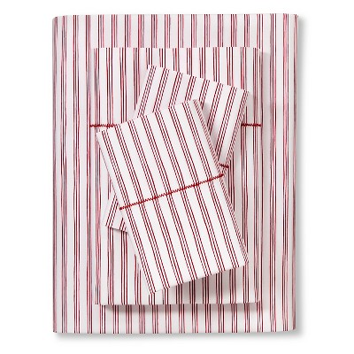 Brooklyn & Bond™ Fine Stripe Sheet Set King - Red