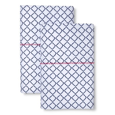 Brooklyn & Bond™ Diamond Pillowcase Set - Navy (Standard)