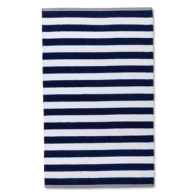 Ecom Accent Rug 30X50 Cr Navy White