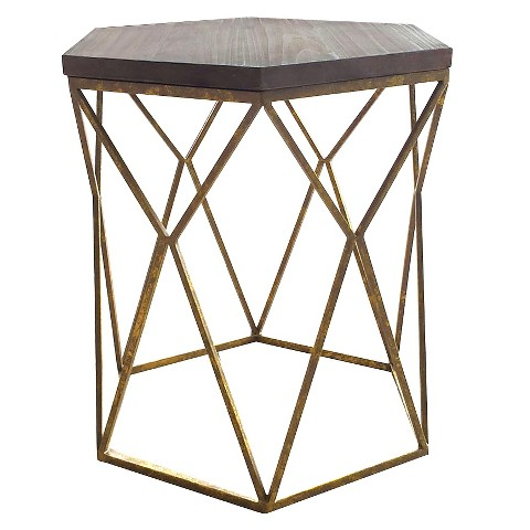 Chester End Table Gold Metal Hexagon Threshold Target