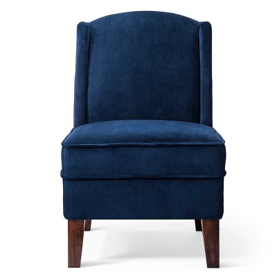 Modified Wingback Chair - Blue Velvet (Fully Assembled) - Threshold™