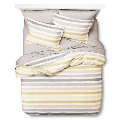Dylan Stripe Duvet Cover Bedding Set (Full) Green&Gray 6pc - Zicci Bea®