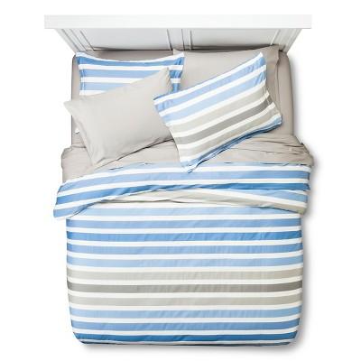 Dylan Stripe Duvet Cover Bedding Set (King) Blue&Gray 7pc - Zicci Bea®