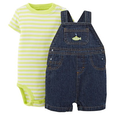 Just One You™Made by Carter's® Newborn Boys' Denim Shortall and Bodysuit Set - Blue/Green 3 M