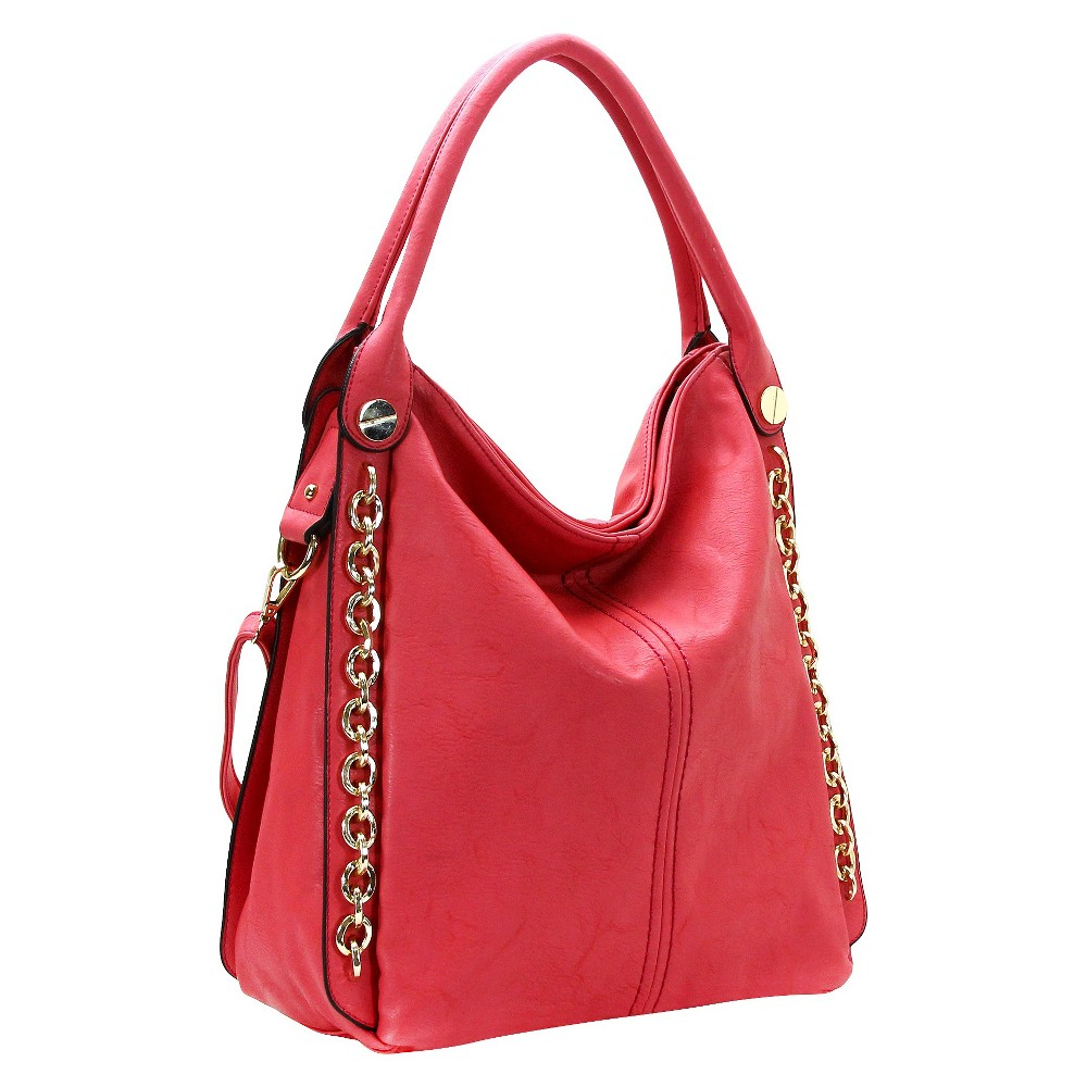 Women's Tote Handbag with Chain Details - Coral