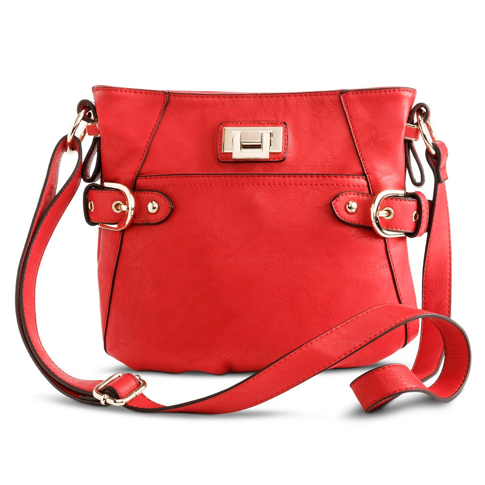 Women's Crossbody Handbag with Side Buckle Detail - Red