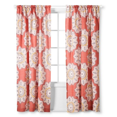 Curtain Panels Mudhut Red Shapes