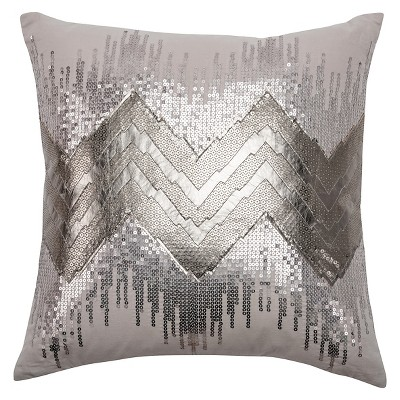 "Rizzy Home Applique and Sequined Pillow - 20""x20"" - Gray/Silver"