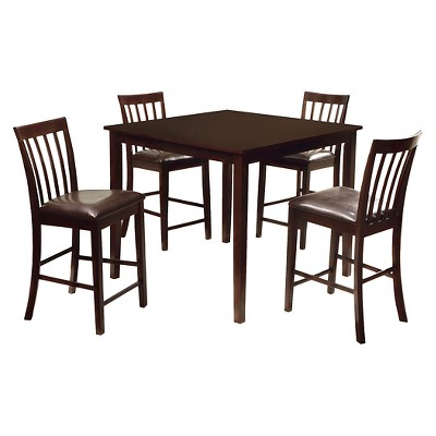 5 Pieces Monaco Dining Table Set Wood/Espresso - Furniture of America