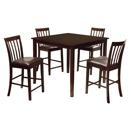 5 Pieces Monaco Dining Table Set Wood Espresso Furniture