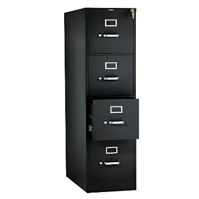 HON® 310 Series Four-Drawer, Full-Suspension File, Letter, 26-1/2d, Black