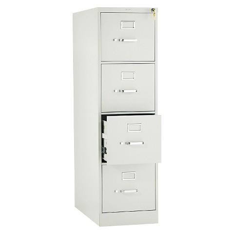 HON® 310 Series Four-Drawer, Full-Suspension File, Letter, 26-1/2d, Light Gray
