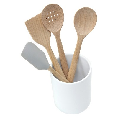 5 Piece Beechwood Tool Set with Ceramic Crock - Threshold™