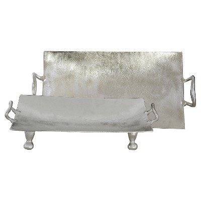 Decorative Tray Set Import Collection Silver Metal