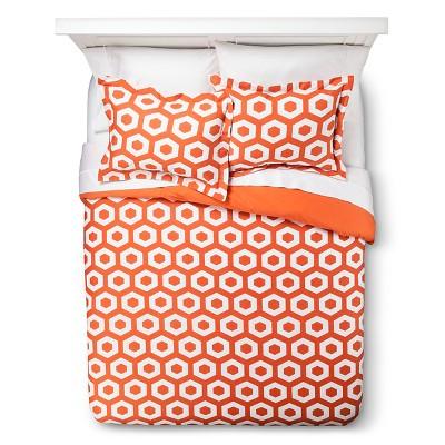 Polygon Duvet Cover Set - Orange/White (Full/Queen)