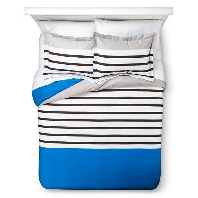 Block Stripe Duvet Cover Set - Blue/Gray (Full/Queen)