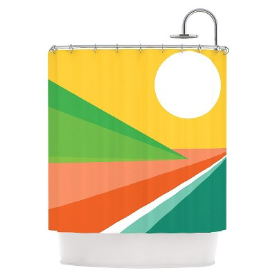 "KESS InHouse Shapes ""Orange Smoothie Green"" Shower Curtain"