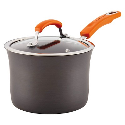 Rachel Ray Hard Anodized 3 qt Covered Saucepan with Orange Handles