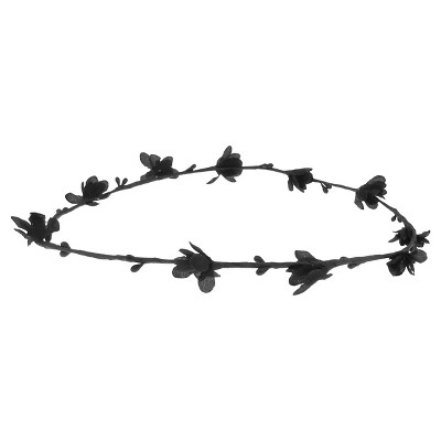Women's Fabric Covered Wire Headwrap with Flowers - Black
