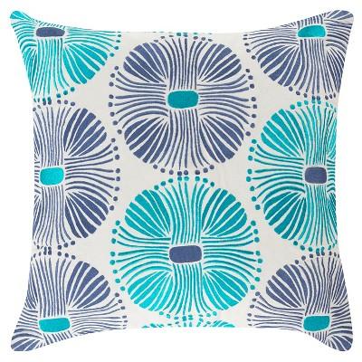 Oleander Multi Burst Pillow - Blue/Turquoise - 18  x 18