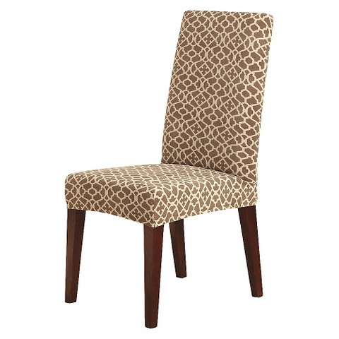 sure fit stretch ironworks short dining room chair slipcover cocoa