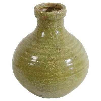 """Natural Finish Earthenware Bottle Vase - 7.5"""""""