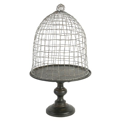 Caged Dome Cloche on Pedestal Stand