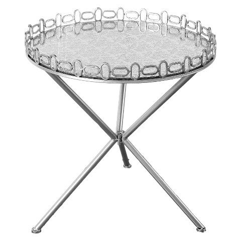 Round mirrored accent table with etched top silver target