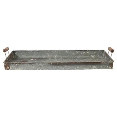 Decorative Tray A&B Home Gunmetal Aluminum