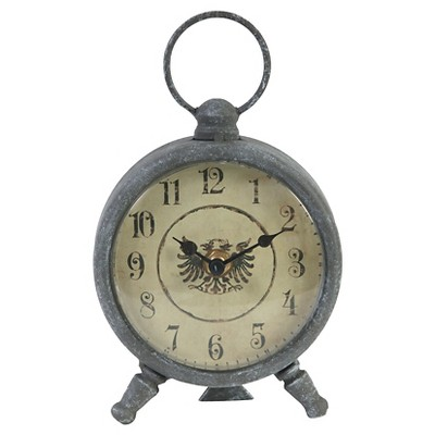 Vintage Aluminum Decorative Clock - Grey