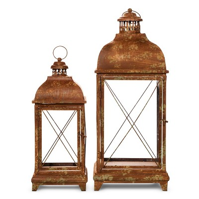 """Set of 2 Metal Lanterns with Antique Finish - 28"""" and 20"""""""