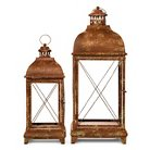 "Set of 2 Metal Lanterns with Antique Finish - 28"" and 20"""