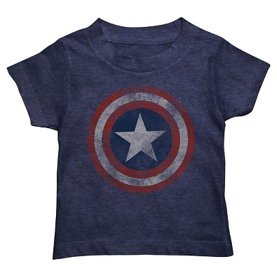 Captain America Toddler Boys Shield Tee - Heathered Deep Navy 12 M