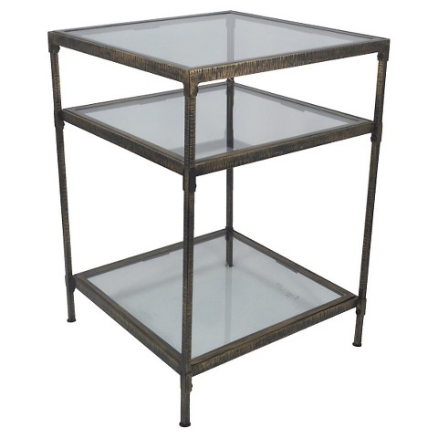 Threshold square metal and glass accent table product details page