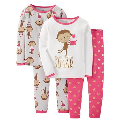 Just One You™ Made by Carter's® Toddler 4-Piece Mix & Match Monkey Pajama Set - Pink 12M