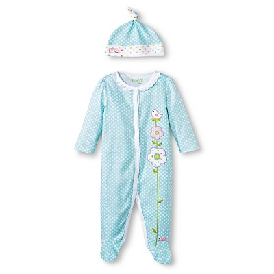 Happi by Dena™ Newborn Girls' Bird Coverall and Hat Set - Turquoise 3-6 M