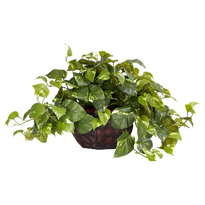 Nearly Natural Pothos w/Decorative Vase Silk Plant