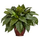 Nearly Natural Birds nest Fern w/Decorative Vase Silk Plant