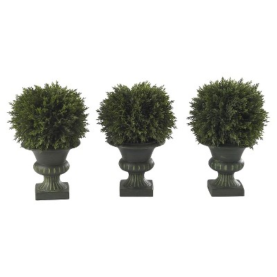 "Nearly Natural 9"" Cedar Ball Topiary (Set of 3)"
