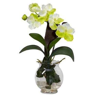 Nearly Natural Mini Vanda w/Fluted Vase Silk Flower Arrangement