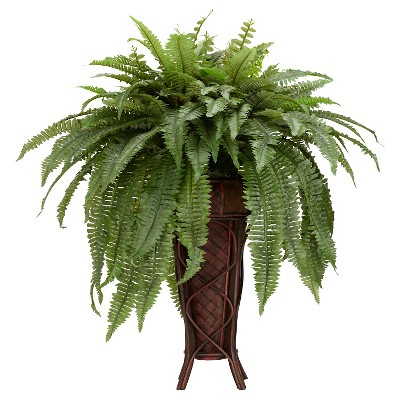 Nearly Natural Boston Fern w/Stand Silk Plant