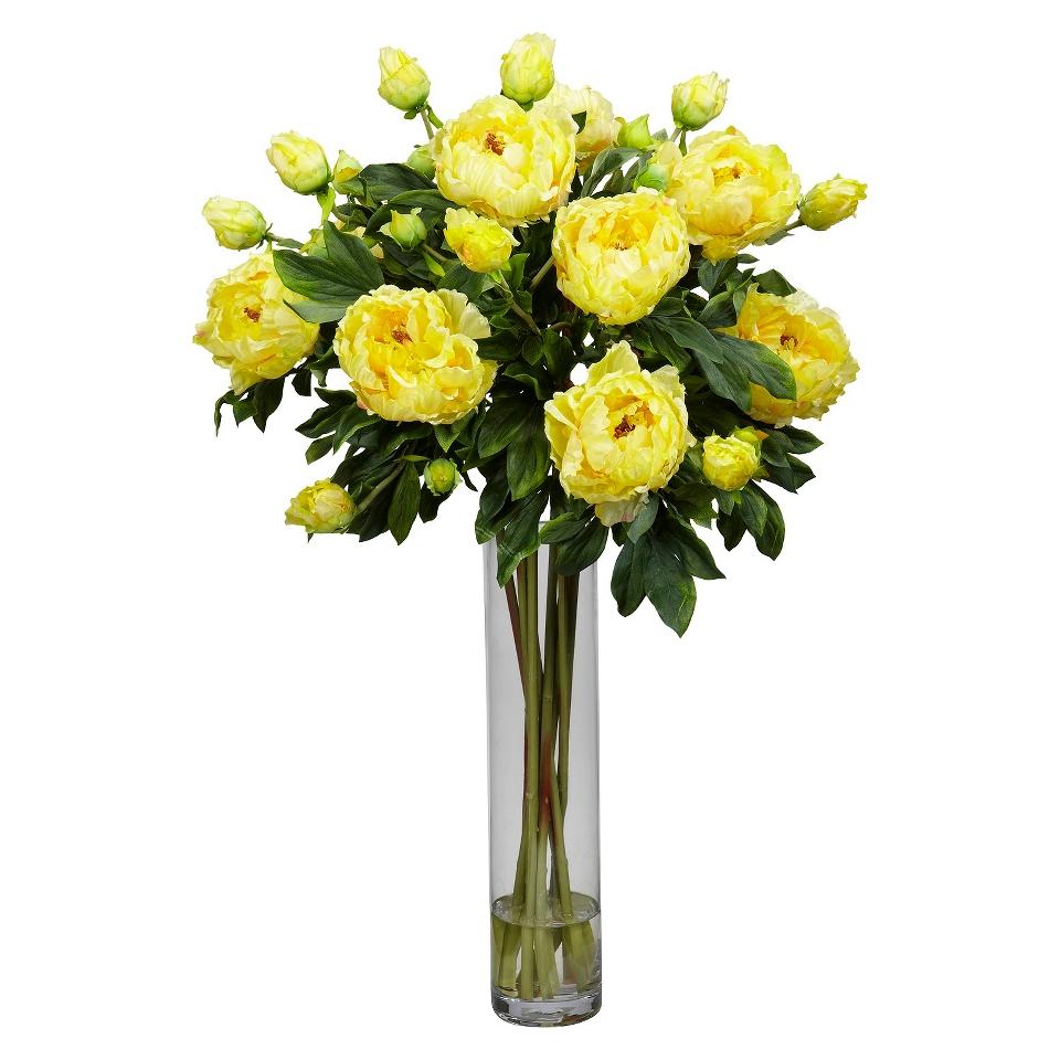 Nearly Natural Peony Wcylinder Silk Flower Arrangement