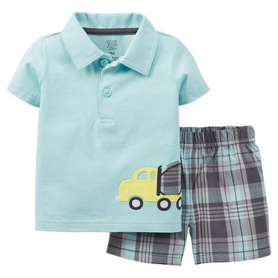 Just One You™Made by Carter's® Newborn Boys' 2 Piece Truck Short Set - Mint 3 M