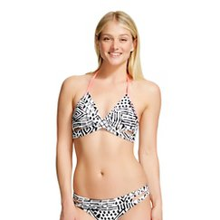 Black/White Graphic Print Faux Wrap Bralette Halter Bikini Top - Xhilaration