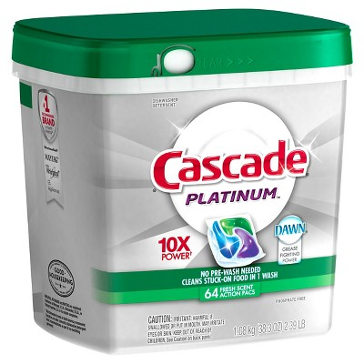 Cascade® Platinum™ ActionPacs™ Dishwasher Detergent Fresh Scent 64 Ct