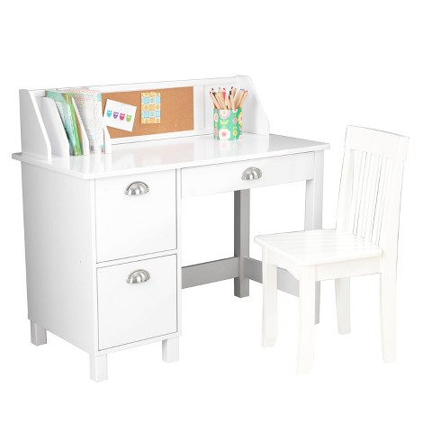 White Study Table : Study Desk with Drawers White - KidKraft product details page