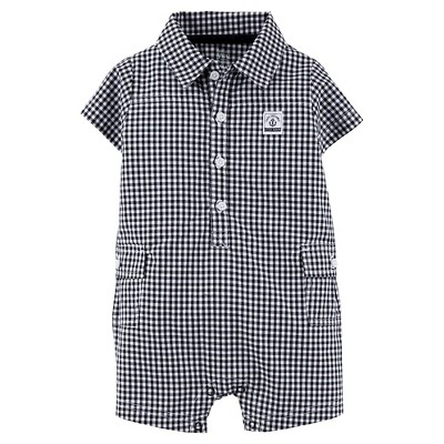Just One You™Made by Carter's® Newborn Boys' Gingham Romper - Black 6 M