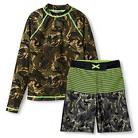 Boys' 2-Piece Long-Sleeve Camouflage Rashguard and Camouflage Swim Trunk Set