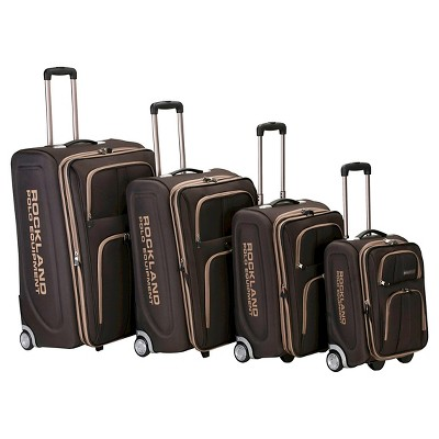 Rockland Varsity Polo Equipment 4pc Luggage Set - Brown